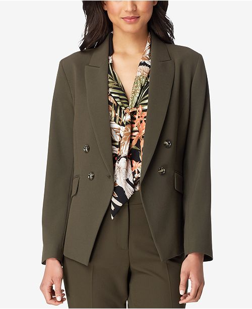 Double ASL Tahari Blazer Olive Breasted Green 80nOZqxT