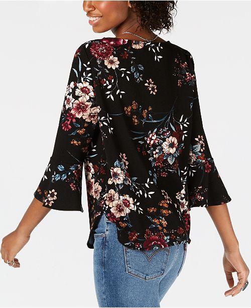 Print Juniors' BCX Top A Floral Bell Sleeve Pat 1EWwxAqdPx