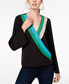 I.N.C. Colorblocked Surplice Top, Created for Macy's