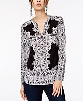 I.N.C. Animal Print Zip-Detail Top, Created for Macy's
