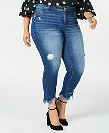 I.N.C. Plus Size Embellished Distressed Skinny Jeans, Created for Macy's
