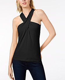 I.N.C. Petite Twisted Halter Top, Created for Macy's