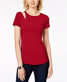 I.N.C. Cutout-Shoulder T-Shirt, Created for Macy's