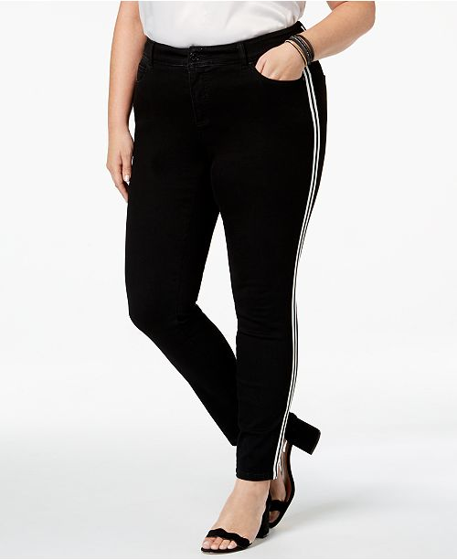INC International Concepts I.N.C. Plus Size Racing-Stripe Skinny Jeans, Created for Macy's