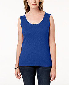 Karen Scott Petite Cotton Studded Top, Created for Macy's
