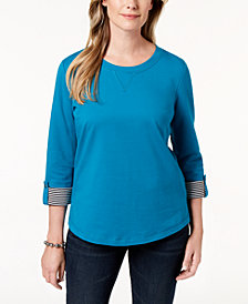 Karen Scott Petite French Terry Roll-Tab-Sleeve Top, Created for Macy's