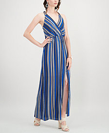 Monteau Petite Striped Wrap Maxi Dress