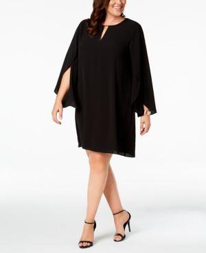 KENSIE PLUS SIZE KEYHOLE SHIFT DRESS
