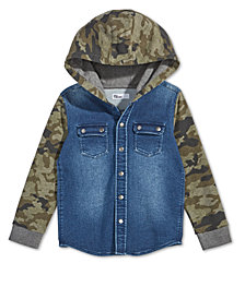 Epic Threads Little Boys Layered-Look Camo-Print Denim Hoodie, Created for Macy's