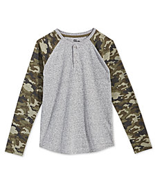 Epic Threads Big Boys Camo-Sleeve Henley T-Shirt, Created for Macy's