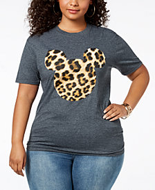 Disney Plus Size Leopard-Print Mickey Mouse T-Shirt
