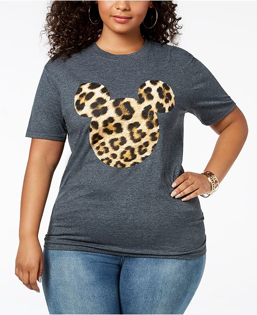 99856174374 Disney Plus Size Leopard-Print Mickey Mouse T-Shirt   Reviews - Tops ...