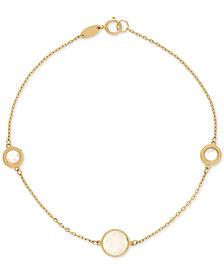 Mother-of-Pearl Station Link Bracelet in 14k Gold