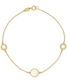 Mother-of-Pearl Station Link Bracelet in 14k Gold