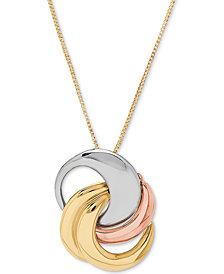 "Tricolor Interlocking Circle 18"" Pendant Necklace in 10k Gold, White Gold & Rose Gold"