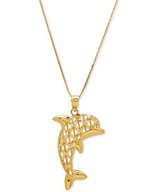 "Dolphin Openwork 18"" Pendant Necklace in 10k Gold"