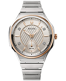 Bulova Women's Curv Progressive Sport Diamond-Accent Stainless Steel Bracelet Watch 40.5mm
