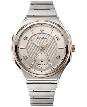BULOVA Women'S Curv Progressive Sport Diamond-Accent Stainless Steel Bracelet Watch 40.5Mm in White/Silver