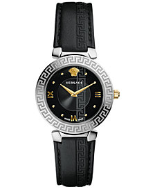 Versace Women's Swiss Daphins Black Leather Strap Watch 35mm