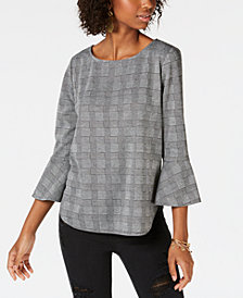 BCX Juniors' Plaid Bell-Sleeve Top