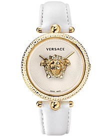 Versace Women's Swiss Palazzo Empire White Leather Strap Watch 39mm