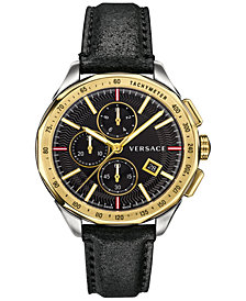 Versace Men's Swiss Chronograph Glaze Black Leather Strap Watch 44mm