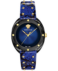 Versace Women's Swiss Shadov Blue Elaphe Leather Strap Watch 38mm