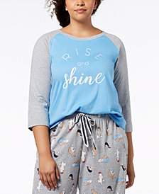Jenni by Jennifer Moore Plus Size Graphic Sleep Top, Created for Macy's