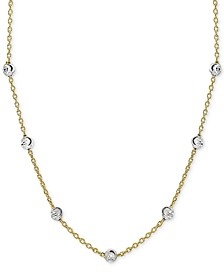 """Beaded Station Chain Necklace in 18k Gold-Plated Sterling Silver, 18"""" + 2"""" extender, Created for Macy's"""