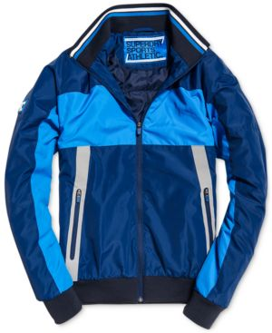 SUPERDRY Men'S Otis Colorblocked Padded Track Jacket in Classic Blue