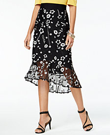 Thalia Sodi Embroidered Flounce Skirt, Created for Macy's