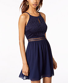 BCX Juniors' Lace & Chiffon Fit & Flare Dress