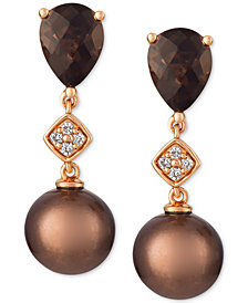 Le Vian® Cultured Brown Tahitian Pearl (8mm), Chocolate Quartz® (2 ct. t.w.) and Diamond Accent Drop Earrings in 14k Rose Gold