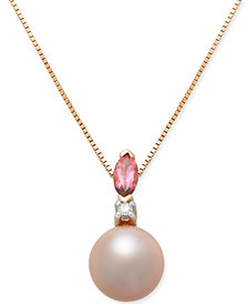 "Pink Cultured Freshwater Pearl (7mm), Pink Tourmaline (1/6 ct. t.w.) & Diamond Accent 18"" Pendant Necklace in 14k Rose Gold"