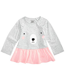 First Impressions Baby Girls Bear-Print Cotton Peplum Tunic, Created for Macy's