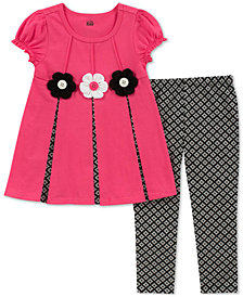 Kids Headquarters Baby Girls 2-Pc. Short-Sleeve Flower Tunic & Leggings Set