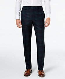Lauren Ralph Lauren Men's Classic-Fit Navy/Green Tartan Plaid Flannel Dress Pants