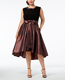 SL Fashions Plus-Size Faux-Pearl-Embellished High-Low Dress