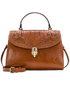 Patricia Nash Stintino Laser Cut Leather Vintage Satchel