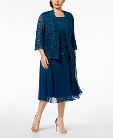 Alex Evenings Plus-Size Lace Sequin-Embellished Dress & Jacket
