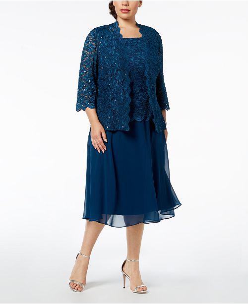 819d8117bade ... Alex Evenings Plus-Size Lace Sequin-Embellished Dress & Jacket ...