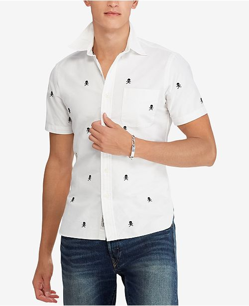 c930b0323 ... Polo Ralph Lauren Men s Big   Tall Classic Fit Embroidered Skull Oxford  Shirt ...