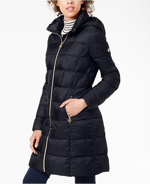 b89e4b71d9e Michael Kors Petite Hooded Packable Puffer Coat   Reviews - Coats ...