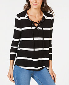 I.N.C. Striped Grommet-Lace Hoodie, Created for Macy's