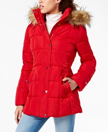 Tommy Hilfiger Petite Faux-Fur-Trim Hooded Puffer Coat, Created For Macy's