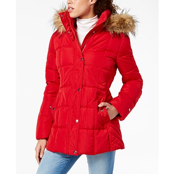 Tommy Hilfiger Hooded Faux-Fur-Trim Puffer Coat