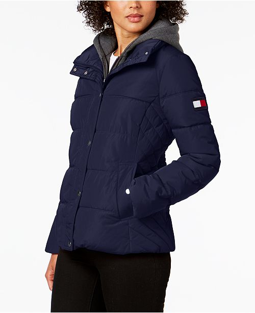 cf06137abe Tommy Hilfiger Knit-Hood Puffer Coat & Reviews - Coats - Women - Macy's