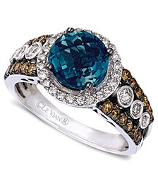 Blue Topaz (2 ct. t.w.) and White and Chocolate Diamonds® (3/4 ct. t.w.) Statement Ring in 14k White Gold