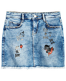 GUESS Big Girls Graphic-Print Denim Skirt