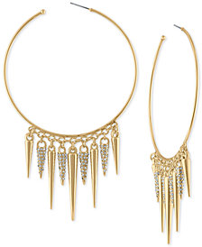 RACHEL Rachel Roy Gold-Tone Pavé Spike Hoop Earrings